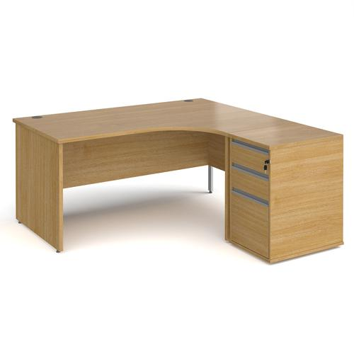 Contract 25 1600mm RH ergonomic desk with panel end legs and 600mm 3 drawer desk high pedestal with silver handles - oak