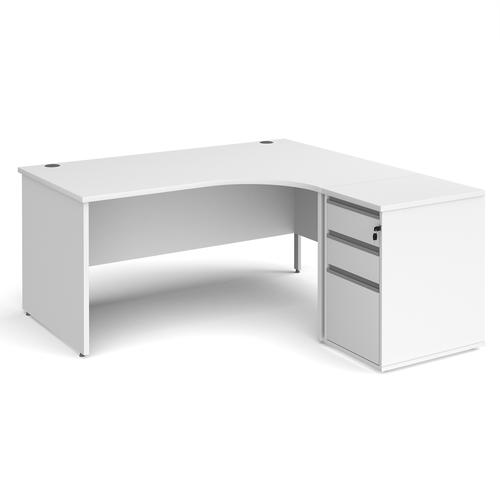 Contract 25 1600mm RH ergonomic desk with panel end legs and 600mm 3 drawer desk high pedestal with silver handles - white