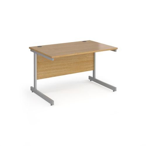 Contract 25 straight desk with silver cantilever leg 1200mm x 800mm - oak top