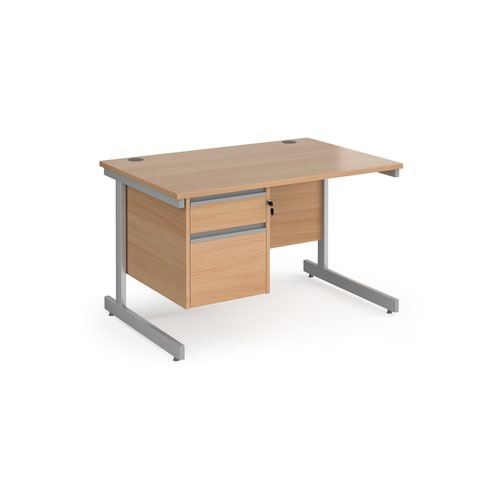 Contract 25 straight desk with 2 drawer pedestal and silver cantilever leg 1200mm x 800mm - beech top