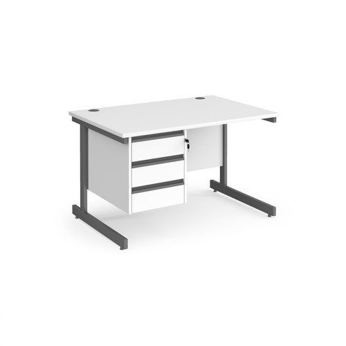 Contract 25 straight desk with 3 drawer pedestal and graphite cantilever leg 1200mm x 800mm - white top