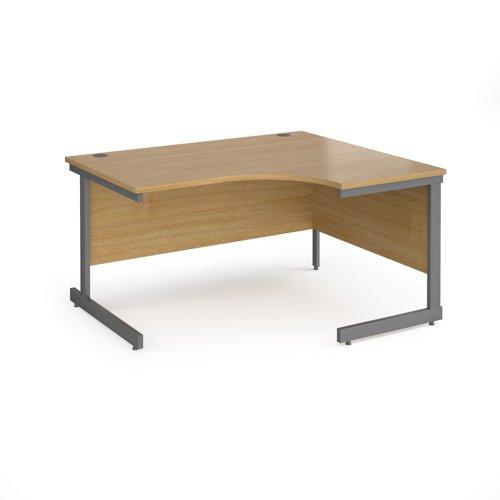 Contract 25 right hand ergonomic desk with graphite cantilever leg 1400mm - oak top