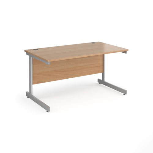 Contract 25 straight desk with silver cantilever leg 1400mm x 800mm - beech top