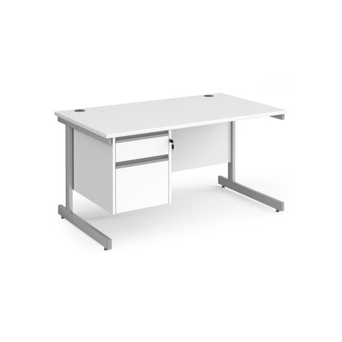 Contract 25 straight desk with 2 drawer pedestal and silver cantilever leg 1400mm x 800mm - white top