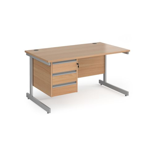 Contract 25 straight desk with 3 drawer pedestal and silver cantilever leg 1400mm x 800mm - beech top