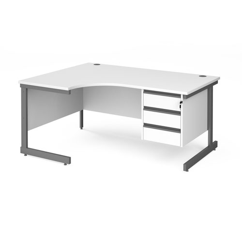 Contract 25 left hand ergonomic desk with 3 drawer pedestal and graphite cantilever leg 1600mm - white top