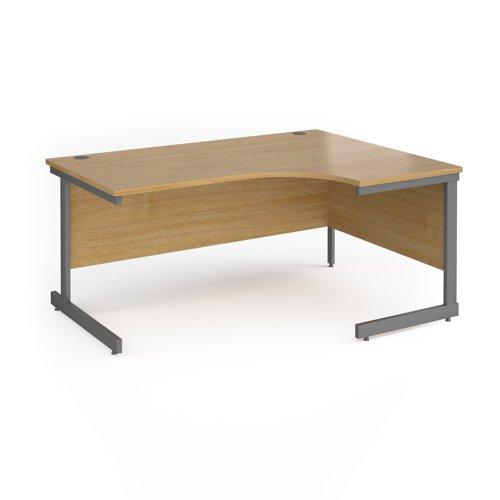 Contract 25 Ergonomic Desk Right Hand 1600x800-1200x725mm Graphite Frame/Oak Top CC16ER-G-O