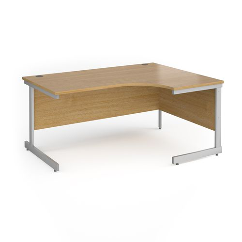 Contract 25 right hand ergonomic desk with silver cantilever leg 1600mm - oak top