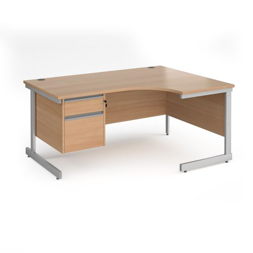 Contract 25 cantilever leg RH ergonomic desk with 2 drawer ped