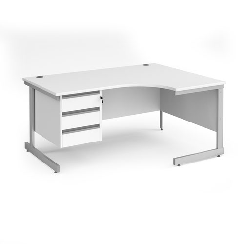 Contract 25 right hand ergonomic desk with 3 drawer pedestal and silver cantilever leg 1600mm - white top