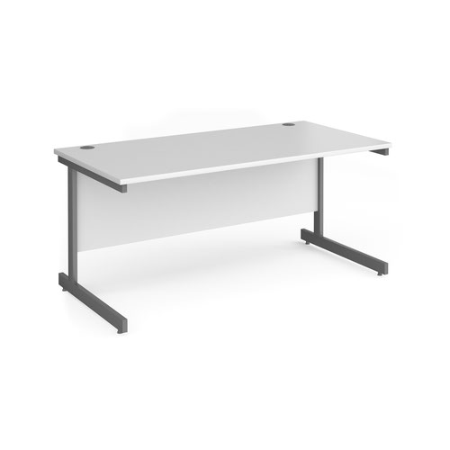 Contract 25 straight desk with graphite cantilever leg 1600mm x 800mm - white top