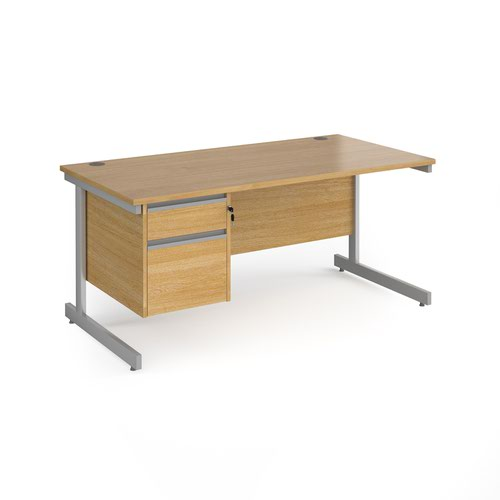 Contract 25 straight desk with 2 drawer pedestal and silver cantilever leg 1600mm x 800mm - oak top