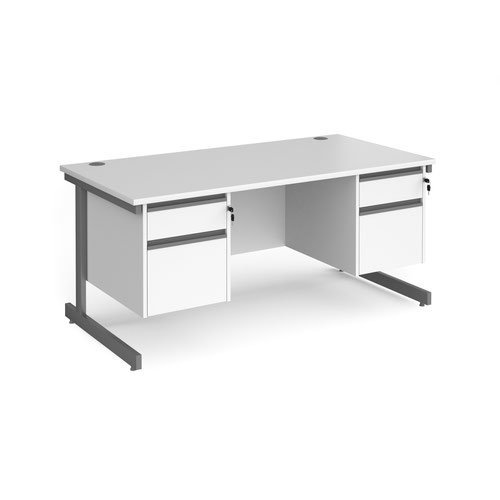 Contract 25 straight desk with 2 and 2 drawer pedestals and graphite cantilever leg 1600mm x 800mm - white top
