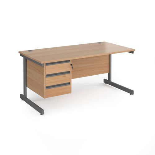 Contract 25 straight desk with 3 drawer pedestal and graphite cantilever leg 1600mm x 800mm - beech top