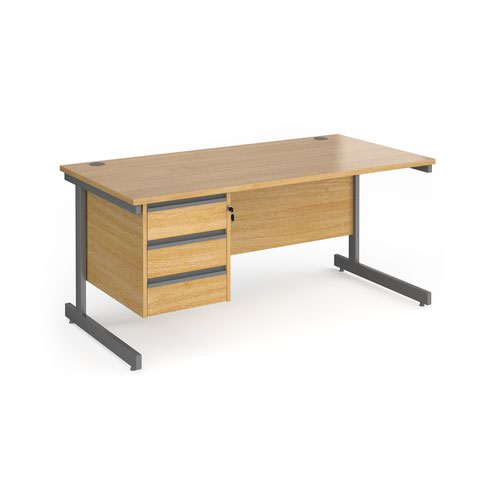 Contract 25 straight desk with 3 drawer pedestal and graphite cantilever leg 1600mm x 800mm - oak top