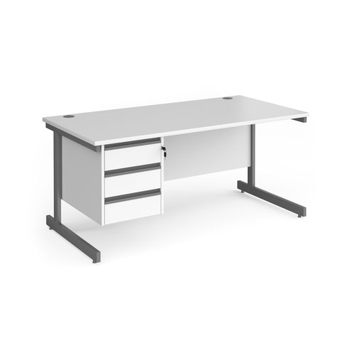 Contract 25 straight desk with 3 drawer pedestal and graphite cantilever leg 1600mm x 800mm - white top