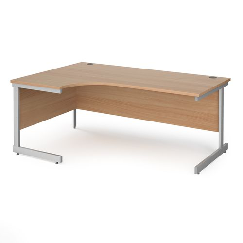 Contract 25 left hand ergonomic desk with silver cantilever leg 1800mm - beech top
