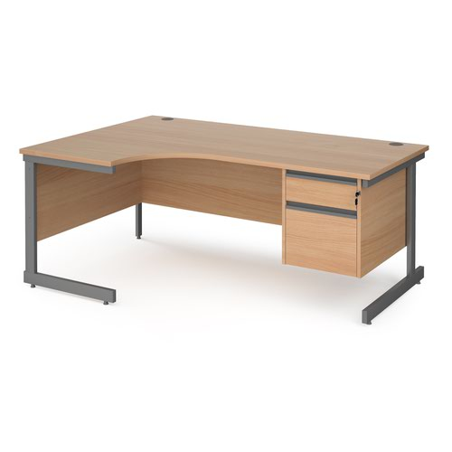 Contract 25 left hand ergonomic desk with 2 drawer pedestal and graphite cantilever leg 1800mm - beech top