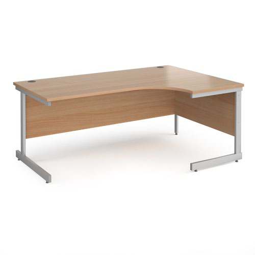 Contract 25 right hand ergonomic desk with silver cantilever leg 1800mm - beech top
