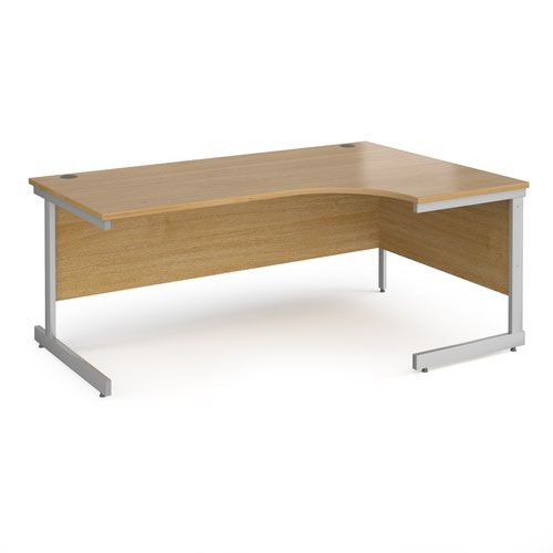 Contract 25 right hand ergonomic desk with silver cantilever leg 1800mm - oak top