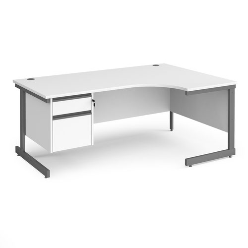 Contract 25 right hand ergonomic desk with 2 drawer pedestal and graphite cantilever leg 1800mm - white top