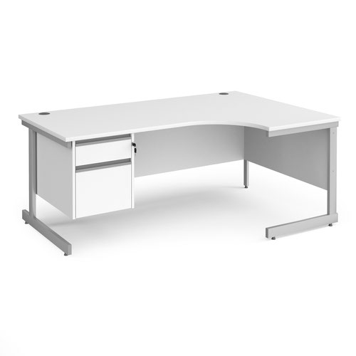 Contract 25 right hand ergonomic desk with 2 drawer pedestal and silver cantilever leg 1800mm - white top