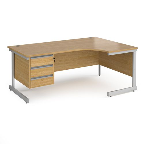 Contract 25 right hand ergonomic desk with 3 drawer pedestal and silver cantilever leg 1800mm - oak top