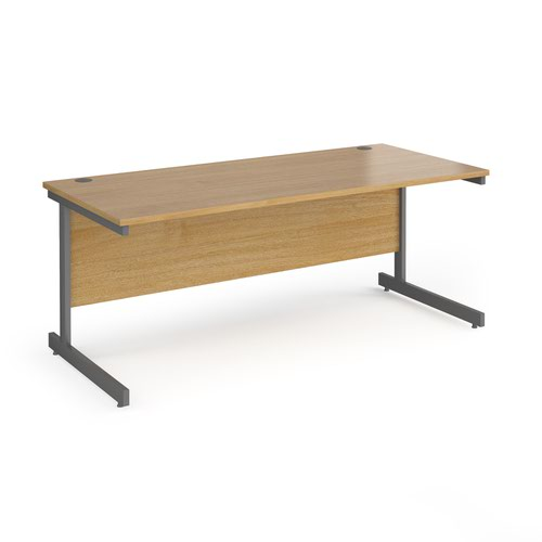 Contract 25 straight desk with graphite cantilever leg 1800mm x 800mm - oak top