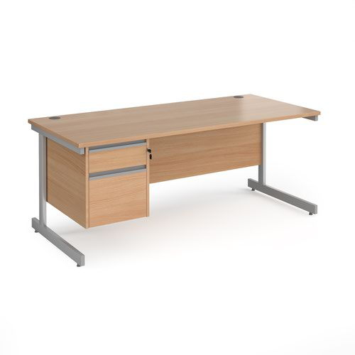 Contract 25 straight desk with 2 drawer pedestal and silver cantilever leg 1800mm x 800mm - beech top