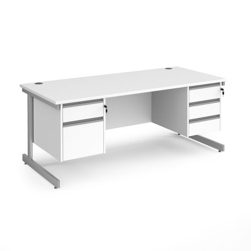 Contract 25 straight desk with 2 and 3 drawer pedestals and silver cantilever leg 1800mm x 800mm - white top