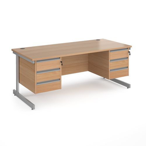 Contract 25 straight desk with 3 and 3 drawer pedestals and silver cantilever leg 1800mm x 800mm - beech top