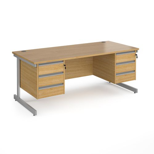 Contract 25 straight desk with 3 and 3 drawer pedestals and silver cantilever leg 1800mm x 800mm - oak top