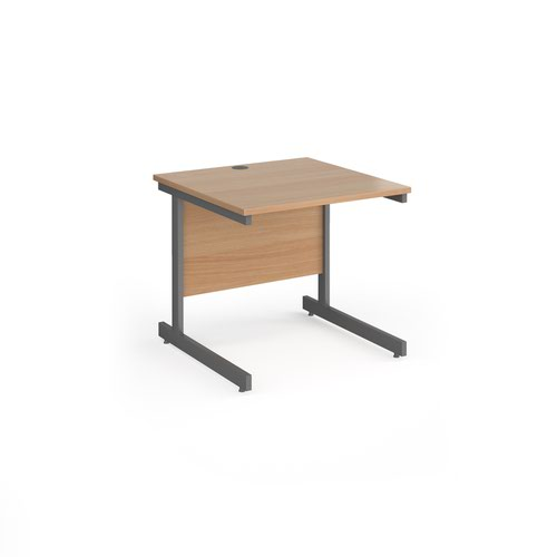 Contract 25 straight desk with graphite cantilever leg 800mm x 800mm - beech top