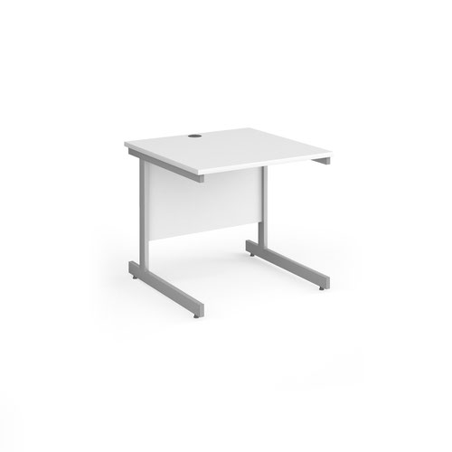 Contract 25 straight desk with silver cantilever leg 800mm x 800mm - white top