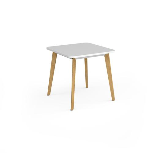 Como square dining table with 4 oak legs 800mm - white