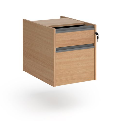Contract 2 drawer fixed pedestal with graphite finger pull handles - beech