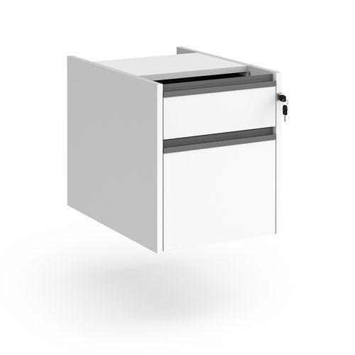 Contract 2 drawer fixed pedestal with graphite finger pull handles - white