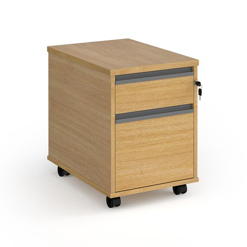 Contract 2 drawer mobile pedestal with graphite finger pull handles - oak
