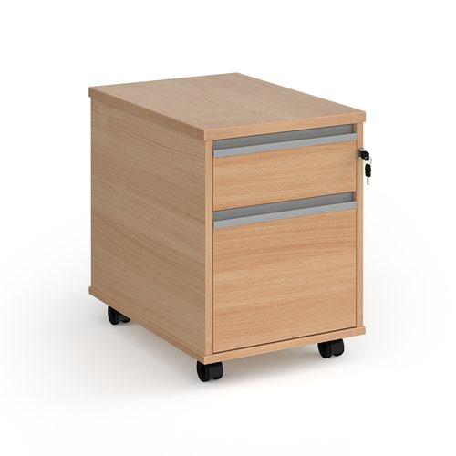 Contract 2 drawer mobile pedestal with silver finger pull handles - beech
