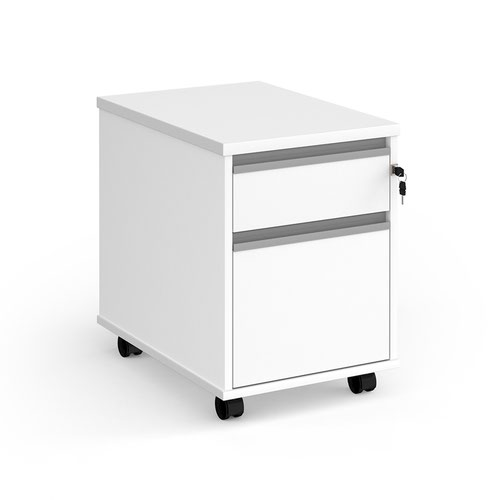 Contract 2 drawer mobile pedestal with silver finger pull handles - white
