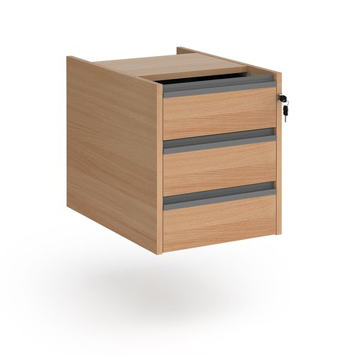 Contract 3 drawer fixed pedestal with graphite finger pull handles - beech