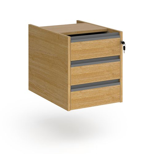 Contract 3 drawer fixed pedestal with graphite finger pull handles - oak