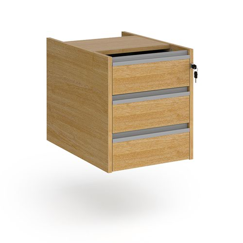Contract 3 drawer fixed pedestal with silver finger pull handles - oak