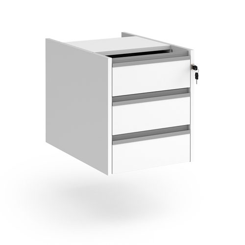 Contract 3 drawer fixed pedestal with silver finger pull handles - white