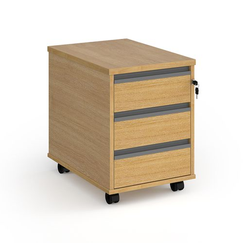 Contract 3 drawer mobile pedestal with graphite finger pull handles - oak