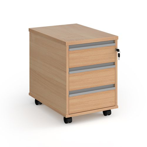 Contract 3 drawer mobile pedestal with silver finger pull handles - beech
