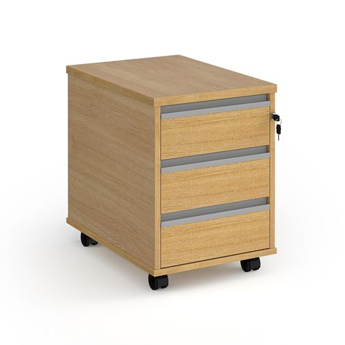 Contract 3 drawer mobile pedestal with silver finger pull handles - oak