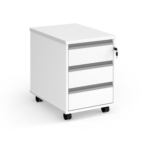 Contract 3 drawer mobile pedestal with silver finger pull handles - white