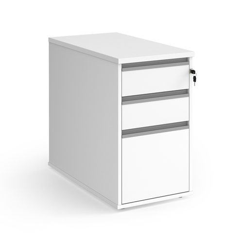 Contract 3 drawer desk high pedestal 800mm deep with silver finger pull handles - white