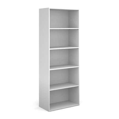 Contract bookcase 2030mm high with 4 shelves - white